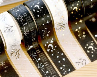 Twinkling night washi tape in Silver and Golawn, Celebrate night washi tape, Moon Star Snow Sky Silver and golden Japanese Washi