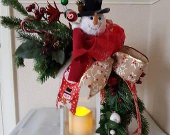 Christmas lantern, floral lantern, Xmas lights, snowman, ribbon lantern, home decor, Christmas decor, decoration, lanterns,