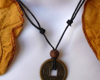Chinese coin necklace lucky Feng Shui