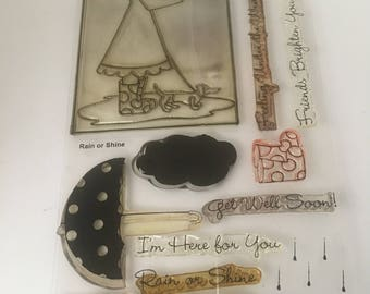 Rain of Shine Clear Stamp Set / Get Well / Friendship / Couds / Umbrella Stamp / Scrapbooking / Card Making Supplies / My Favorite Thing