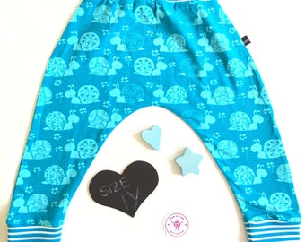 Snail Clover Harems - Harem Pants  - Baby Gift - 1y - Newborn - Kids - Turquoise - Petrol - Trousers - Comfortable