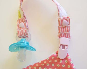 """Pacifier clip in cotton """"pineapple neon pink and green"""""""