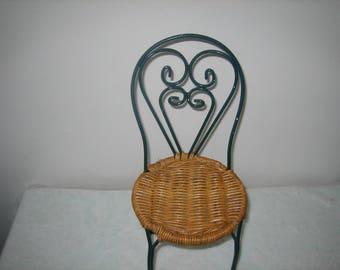 Vintage Miniature Ice Cream Parlor Chair Green Wrought Iron & Rattan Ice Cream Chair Doll Chair Home Decor