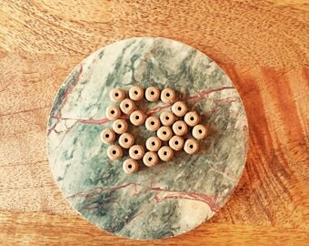 120 Wood Beads - 8mm Diameter - ~1.5mm Hole - Biodegradable & Sustainable