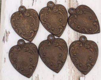 6 Sweet Embossed Copper Heart Charms, victorian style flat heart charms  17mm