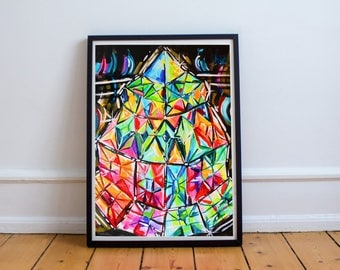Crystal Tower giclee print - abstract psychedelic fine art