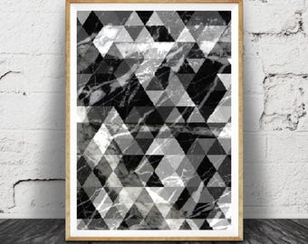 Mid Century Modern Art, impression de marbre abstrait noir et blanc, Triangle imprimé, Instant imprimable Télécharger, décoration scandinave