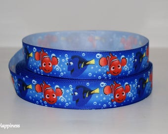 """Nemo and Dory 7/8"""" Grosgrain Ribbon 432 By the Yard"""