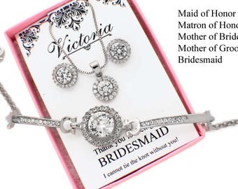 Matron of honor gift, maid of honor jewelry set, personalized bridesmaid jewelry set, necklace earring set, personalized bridesmaid gift