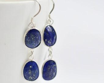 LAPIS LAZULI Bezel Earring , Sterling Silver Earring , Lapis Lazuli Unusual Shape Dangling Silver Earring