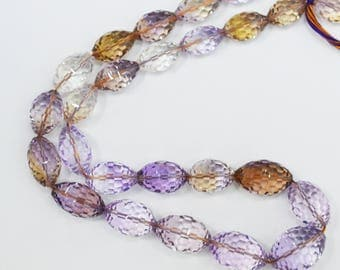 AAA quality Natural Ametrine Faceted Dholki Shape / Bicone fancy shape faceted / 14 inch