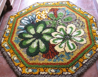 A Fabulous Funky Retro Vintage French Octagonal Flower Power 1960's Hand Hooked Wool Rug