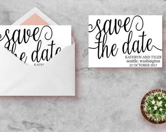 Black and White Save the Date, Save the Date Instant Download, Save the Date PDF, Printable Save the Date