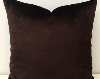 Brown Cotton Velvet Pillow Cover, Brown Pillows, Velvet Pillow, Decorative Pillows, Throw Pillows, Cushion, 18X18 Brown Velvet Pillow Covers
