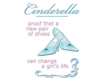 T-SHIRT: Cinderella New Shoes - Classic T-Shirt & Ladies Fitted Tee - (LazyCarrot)