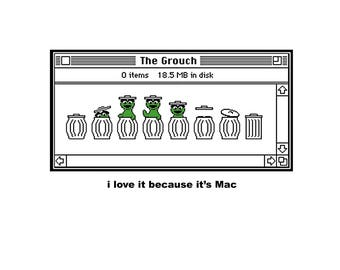 T-SHIRT: Classic Apple Mac / The Grouch - Classic T-Shirt & Ladies Fitted Tee - (LazyCarrot)
