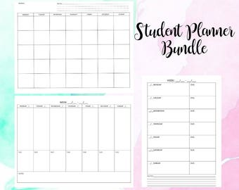 Simple Student Planner Bundle Monthly Weekly Organizer