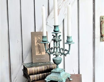 Painted bronce Candlestick,  3 branch,  french vintage Shabby & Chic