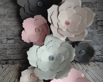 Pink cream ans grey paper flowers