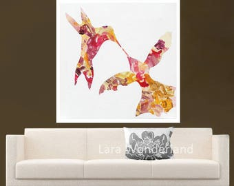 Bird Painting, Birds Original Modern Abstract Art, Birds Love by Lara Wonderland