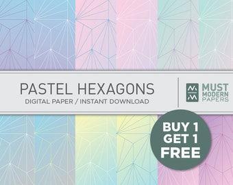 Pastel Hexagon Digital Paper, Fine Line Paper, Ombre Printable, Hexagon, Digital Background, Geometric Scrapbook Paper