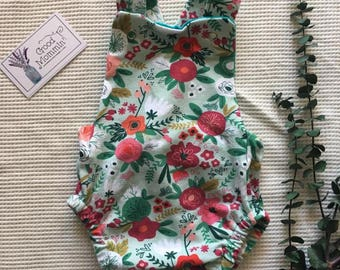 Summer Knit Romper with Bubble Bottom and Criss Cross Straps (Preemie to 3T)