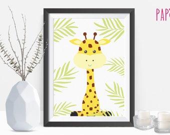 Safari Nursery | giraffe print, baby giraffe, safari animal, baby animal prints, giraffe wall art print, printable poster, nursery animal