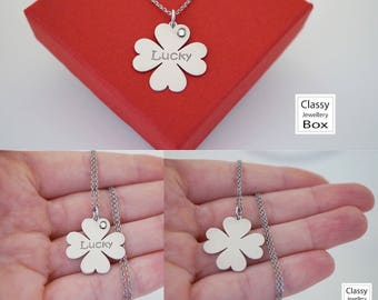 Sterling silver lucky four leaf clover necklace, celebrity necklace, jewelry, sterling silver jewelry, lucky clover jewelry, good luck