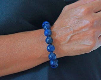 Female blue quartz beads Stretch Bracelet