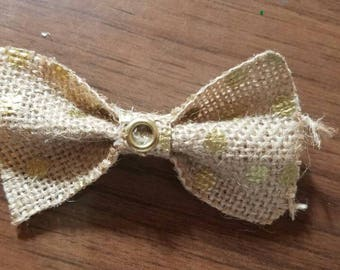Gold Polka Dot Burlap Bow