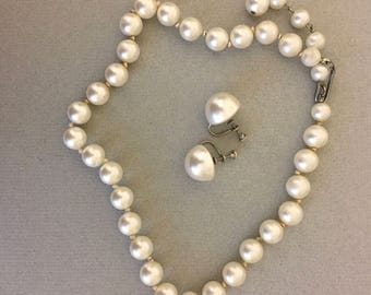 Beautiful Vintage Single strand of Faux-Pearls with matching earrings signed Ampeco/Sterling Silver backs, Hand-Knotted