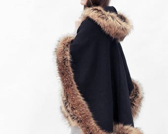 Elegant black and brown half-woolen cloak with high quality faux fur - made by Irena Fashion