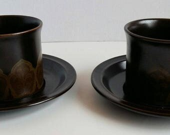 Royal Doulton Marbella Cups And Saucers Lambethware 1973 Vintage Set Of 2