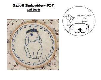 Rabbit Embroidery PDF Pattern