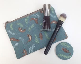 Otters small makeup bag, make up bag, zippered pouch, storage pouch, phone pouch, lewis and irene fabric, otter, sea otter, compact mirror.