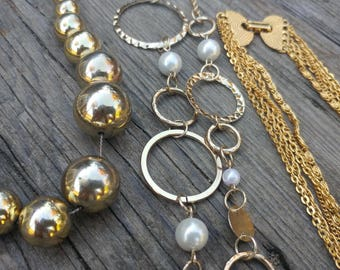 3 Vintage Gold Ball/Chain Necklaces // Retro 60s 70s Mod Necklace Collection