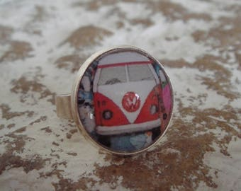 VW combi pattern glass cabochon Adjustable ring