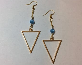 """Earrings """"Golden Triangle and a blue cat's eye"""""""