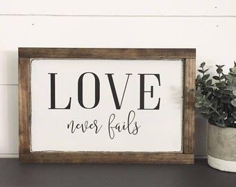 WOOD SIGN   LOVE Never Fails   Modern Farmhouse Sign   Hand painted   Wall Art   Home Decor