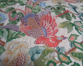 Mid Century Chinese Oriental Silk hand made of birds in the trees