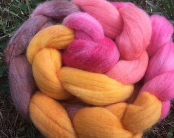 Fall Colors, Merino Roving, 4 Ounces, Hand painted, Hand Dyed, red and brown Roving