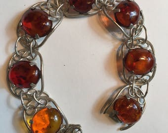 Amber and silver hand wrought link bracelet