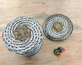 metal woven basket | silver tone brass lidded basket