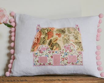Country cottage cushion | Cute cottage cushion | Thatched cottage gift | Shabby chic home decor | Country home gift | Chocolate box cottage