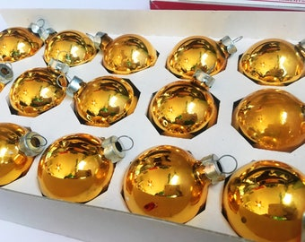 Vintage Christmas Ornaments, HOLLY brand Gold Glass Bulbs, Set of 18