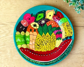 Large Painted Ceramic Fruit Tray, Decorative Platter