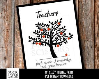 Printable Print, End of School Year Teacher Gift, Teachers plant seeds of knowledge, Gift for Teacher, PDF Digital Download, Sku-RHO133