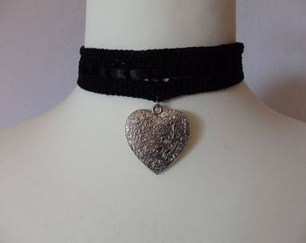 Black Gothic Crocheted Necklace Choker, Black Cotton Yarn and Silver Heart