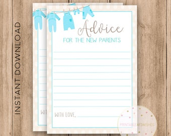 "New parents advice cards, Baby shower advice cards 5x7"", Boy baby shower keepsake, Gender reveal party, Shower activities download, PAW113"
