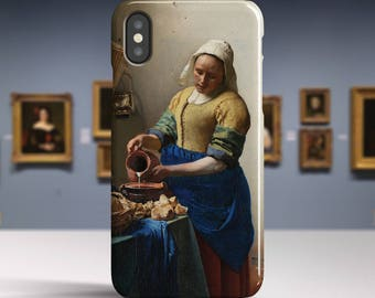 "Johannes Vermeer, ""The Milkmaid"". iPhone X Case Art iPhone 8 Case iPhone 7 Plus Case and more. iPhone X TOUGH cases. Art iphone cases."